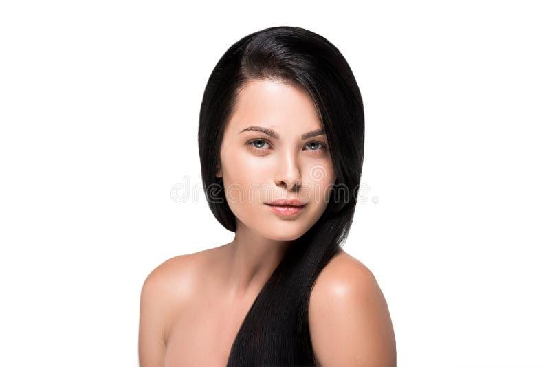 donna sensuale sorridente con capelli castana lunghi fotografie stock libere da diritti