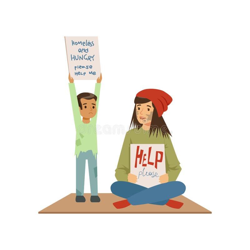 Donna senza tetto e ragazzo che elemosinano in via che chiede l'aiuto, uomo di disoccupazione che ha bisogno dell'illustrazione d illustrazione vettoriale