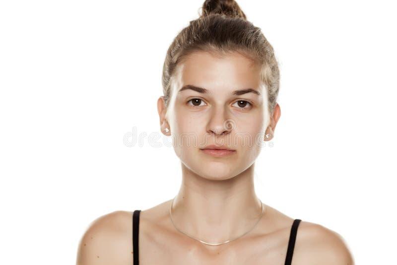 Donna senza trucco fotografia stock libera da diritti