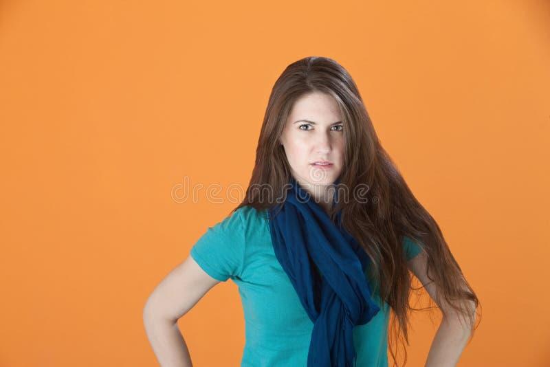 Donna seria fotografia stock libera da diritti