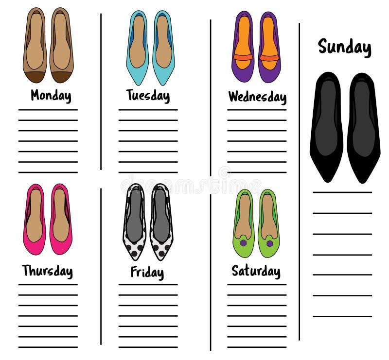 Donna settimanale, modello quotidiano del pianificatore con le scarpe alla moda Organizzatore, diario, programma con le note per  illustrazione di stock