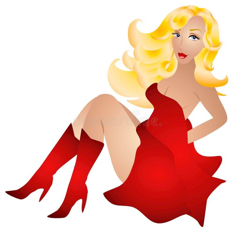 Donna sexy bionda nel colore rosso illustrazione vettoriale