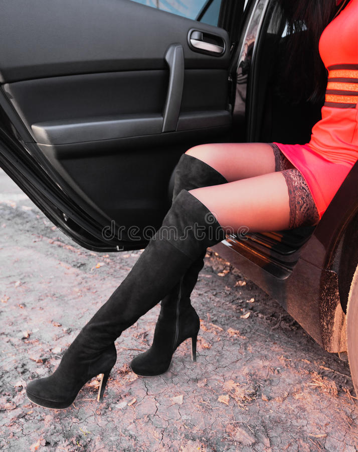 Donna sexy in calze fotografia stock libera da diritti