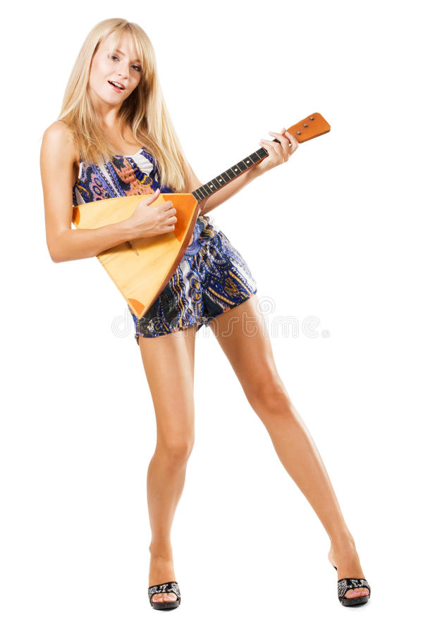 Donna sexy che gioca balalaika immagini stock libere da diritti