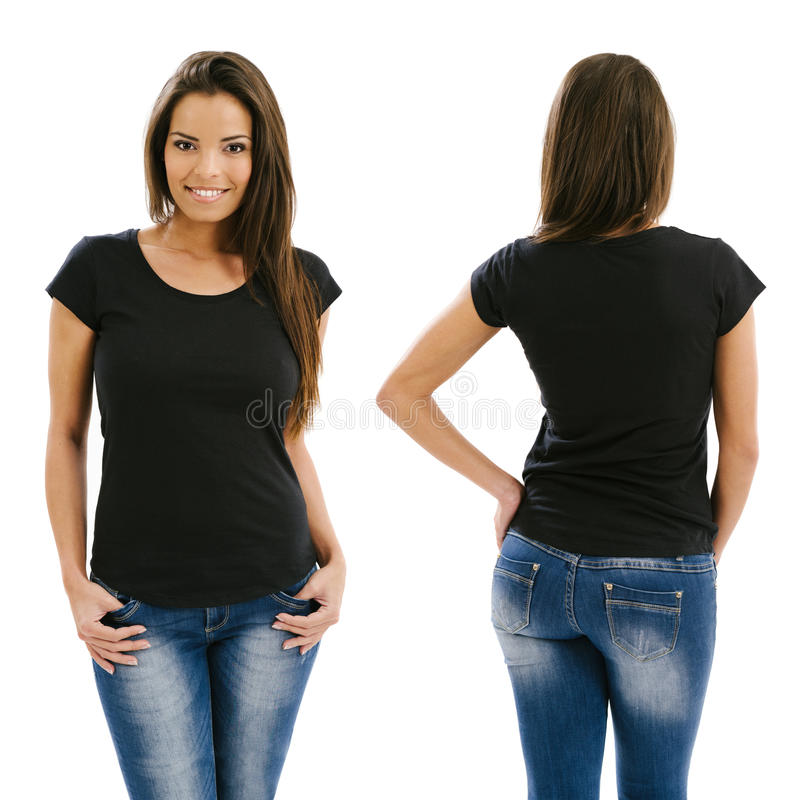 Donna sexy che posa con la camicia nera in bianco fotografie stock
