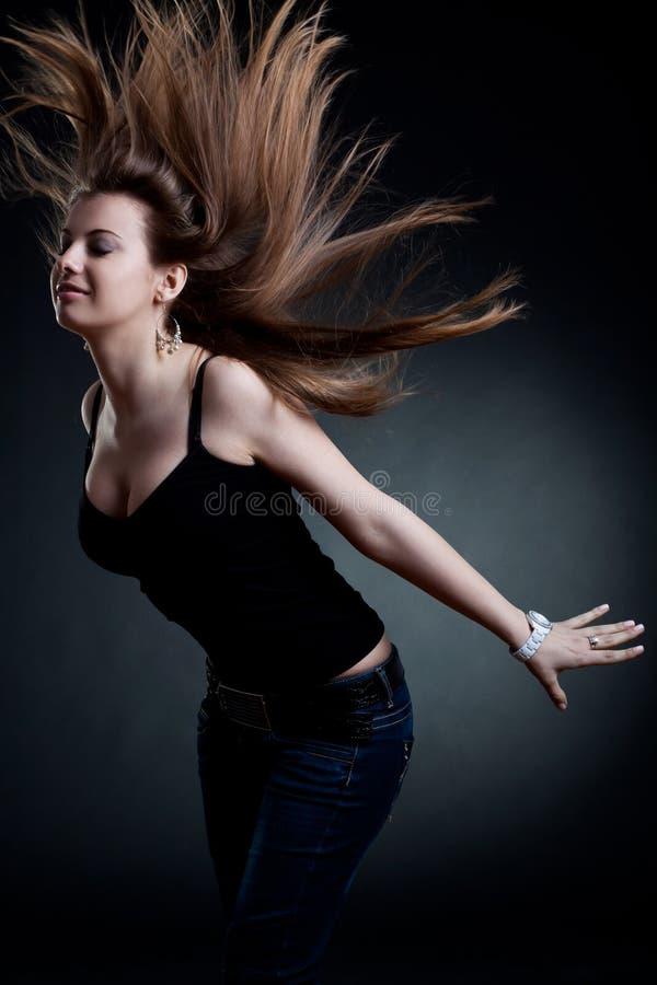 Donna sexy con capelli saltati immagini stock