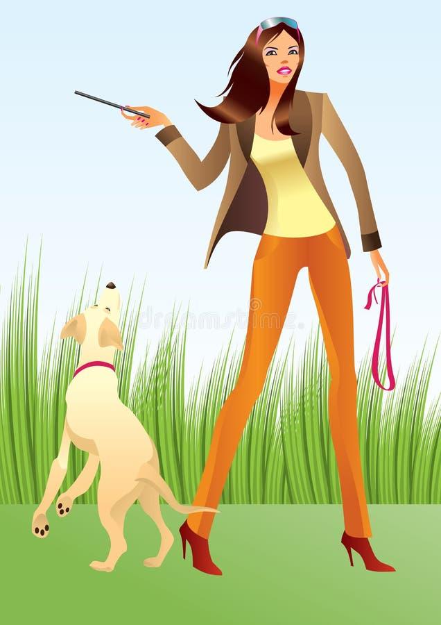 Donna sexy con un cane nella sosta illustrazione vettoriale