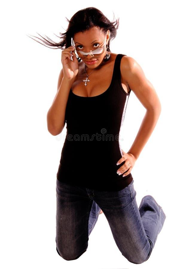 Donna sexy dell'afroamericano immagine stock