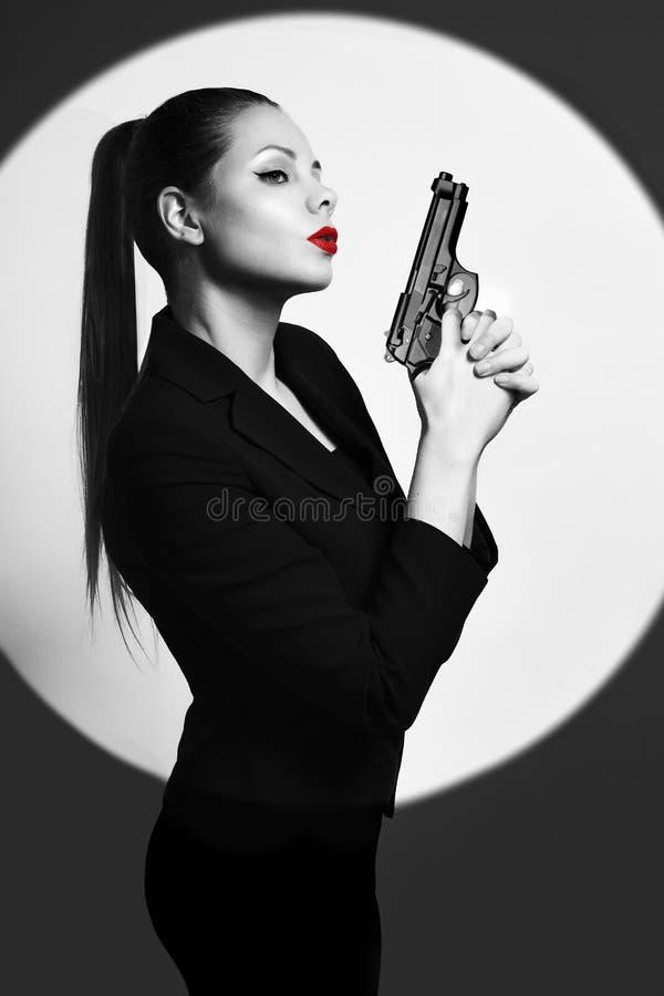 Donna sexy dell'agente investigativo fotografia stock