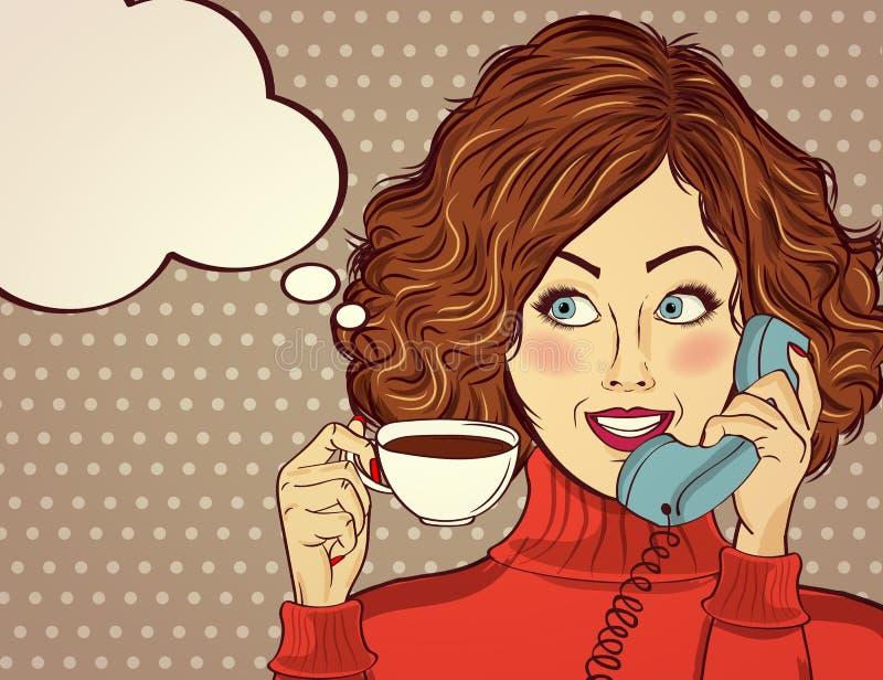 Donna sexy di Pop art con la tazza di caffè illustrazione di stock