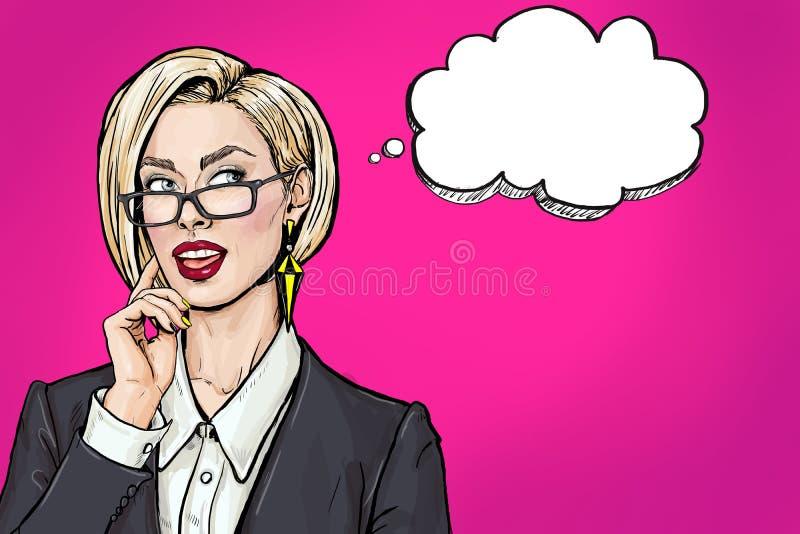 Donna sexy giovane di pensiero di affari con la bocca aperta che cerca sulla bolla vuota Ragazza di Pop art di sorriso illustrazione vettoriale