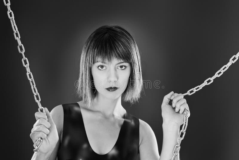 Donna sexy in lattice fotografia stock libera da diritti