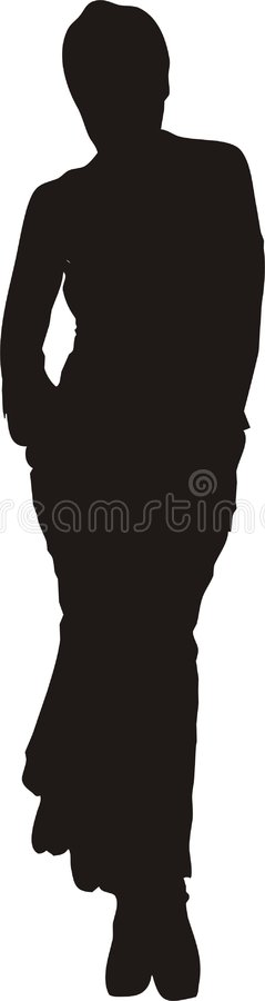 Donna sexy nella siluetta di posa illustrazione vettoriale
