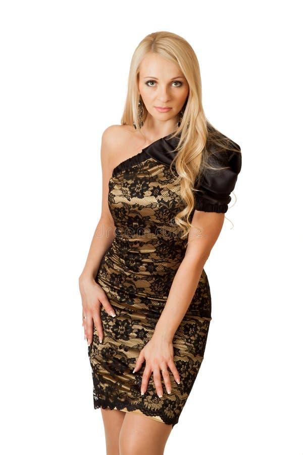 Donna sexy in vestito da cocktail. fotografia stock libera da diritti
