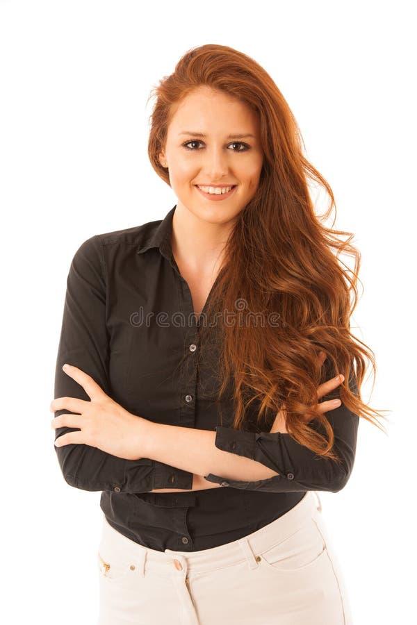 Donna sicura attraente di affari con capelli marroni che stanno iso immagini stock libere da diritti