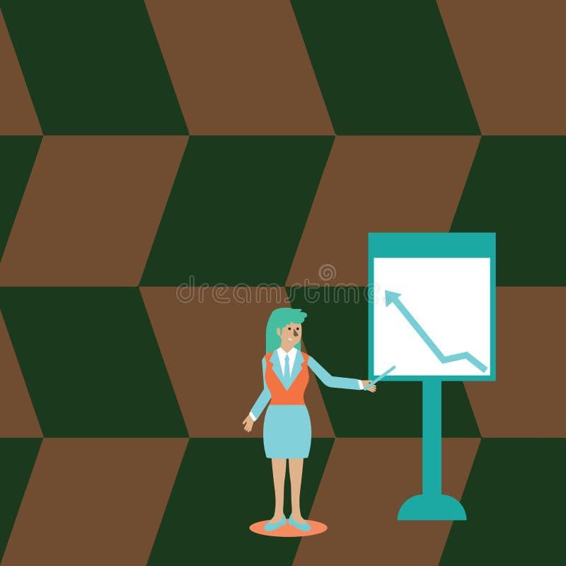 Donna sicura in bastone della tenuta del vestito ed indicare per tracciare una carta di della freccia che va su sulla lavagna ind illustrazione vettoriale