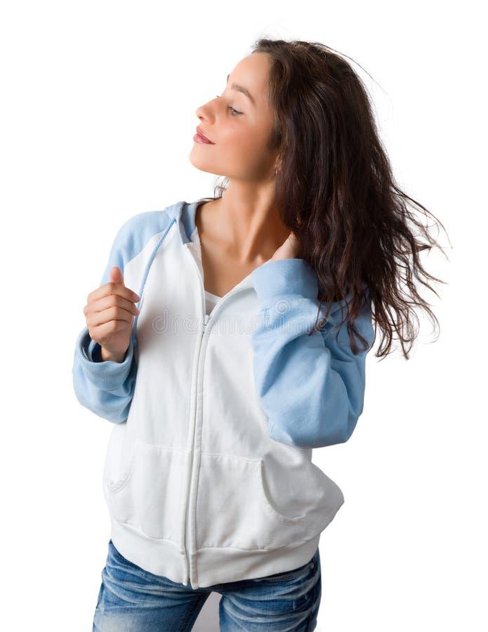 Donna sicura con capelli ricci fotografie stock libere da diritti