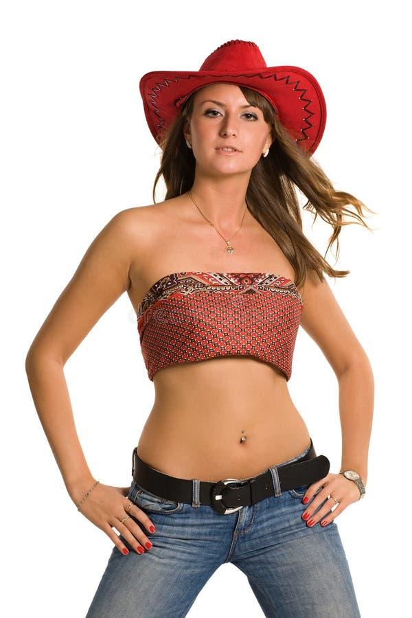Donna in sombrero fotografia stock