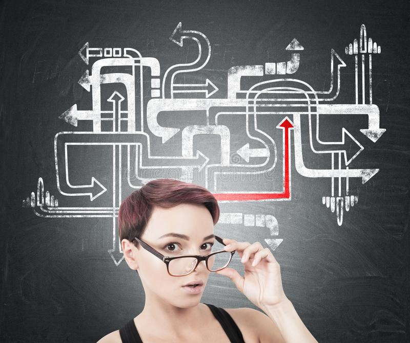 Donna sorpresa che decolla i vetri, labirinto della freccia immagini stock