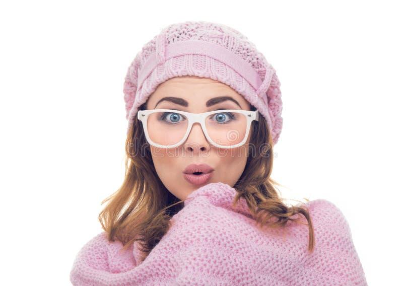 Donna sorpresa di congelamento immagine stock