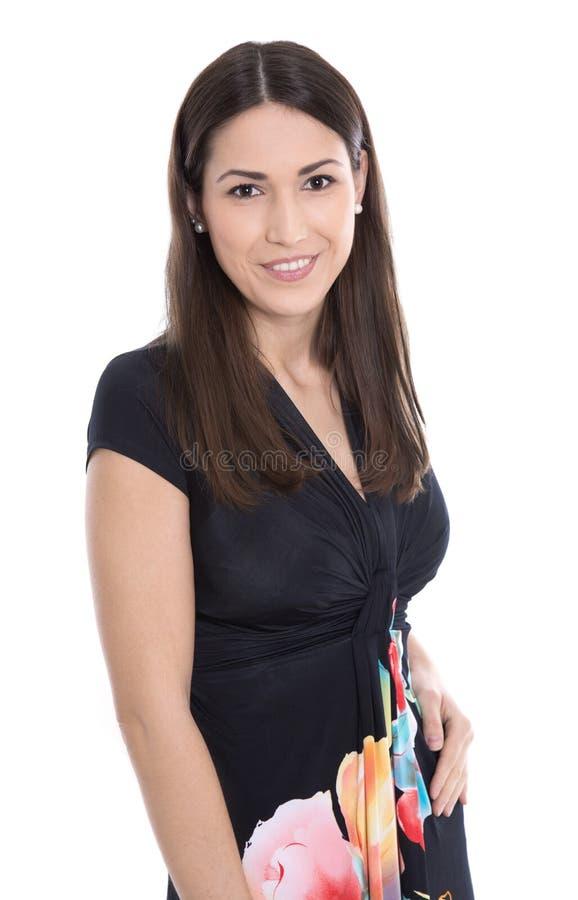 Donna sorridente abbastanza giovane isolata sopra fondo bianco immagini stock libere da diritti