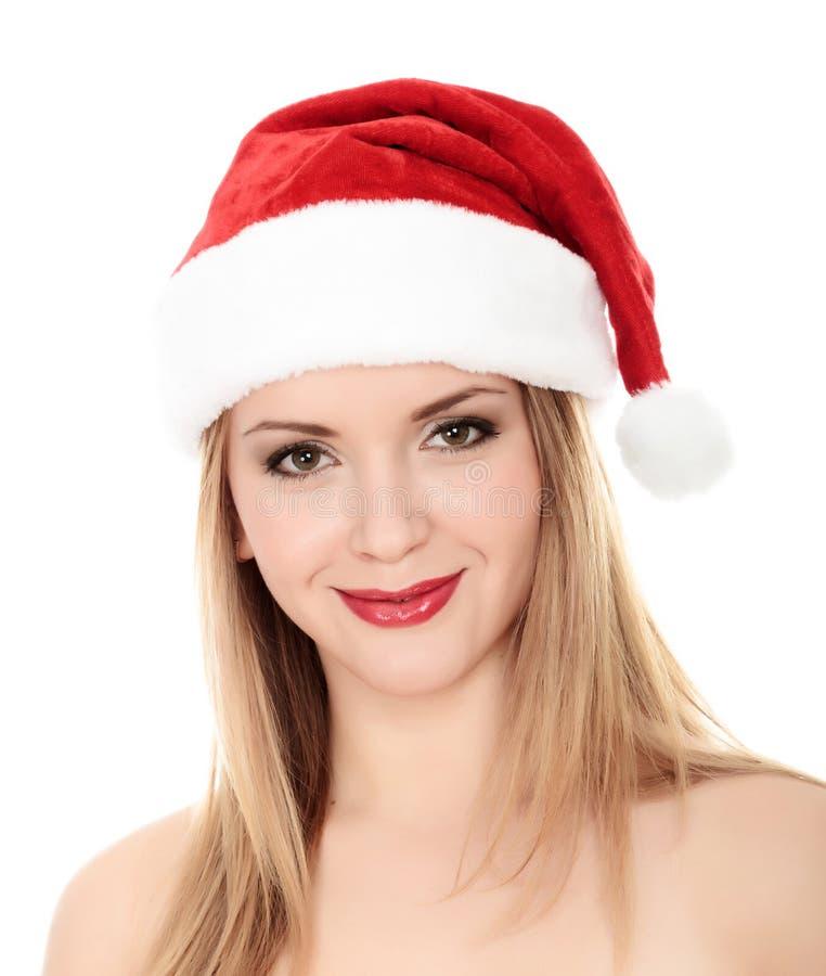 Donna sorridente attraente in protezione della Santa fotografia stock