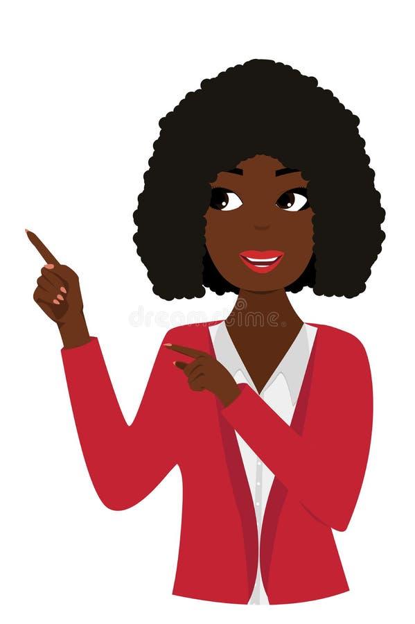 Donna sorridente che indica cercando l'illustrazione isolata di vettore illustrazione di stock