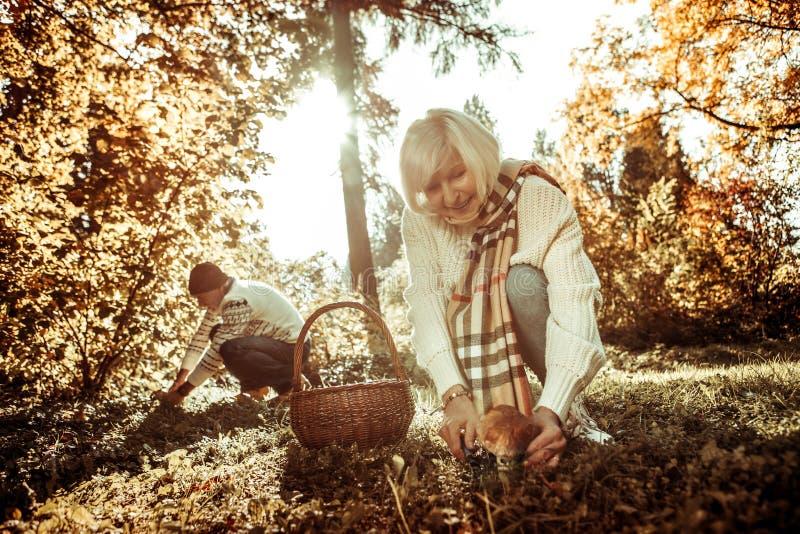 Donna sorridente che va tagliare un grande fungo fotografia stock libera da diritti