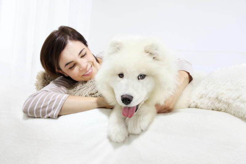 Donna sorridente con il cane di animale domestico immagine stock