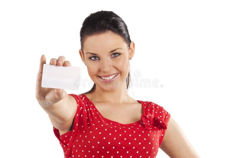 Donna sorridente con la scheda immagine stock libera da diritti