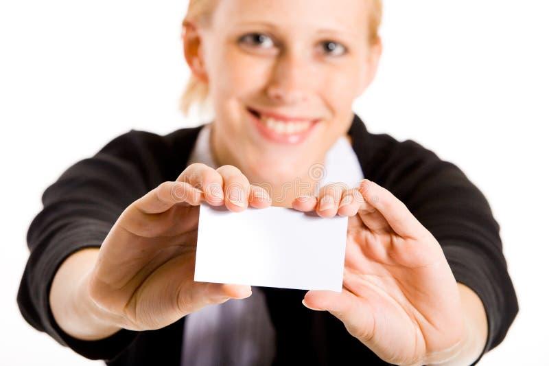 Donna Sorridente Di Affari Con La Sua Carta Immagine Stock