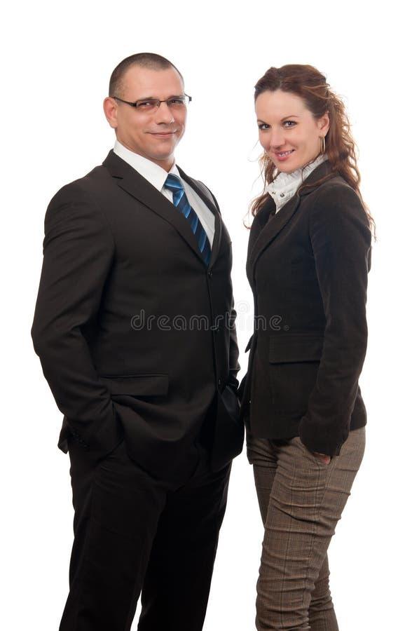 Donna sorridente di affari e dell'uomo d'affari immagini stock
