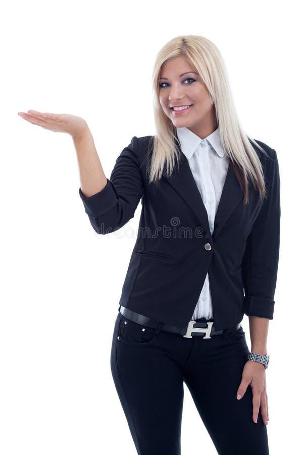Donna sorridente di affari, isolata sopra fondo bianco immagine stock