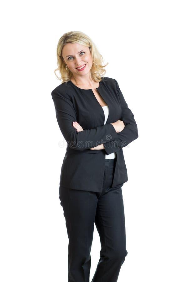 Donna sorridente di affari Isolato sopra bianco fotografia stock