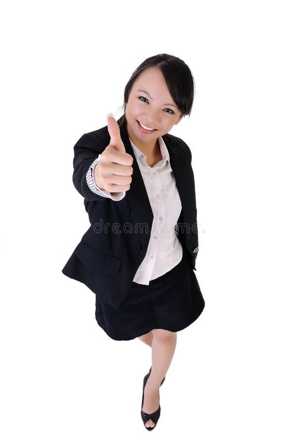 Donna sorridente felice di affari fotografia stock libera da diritti