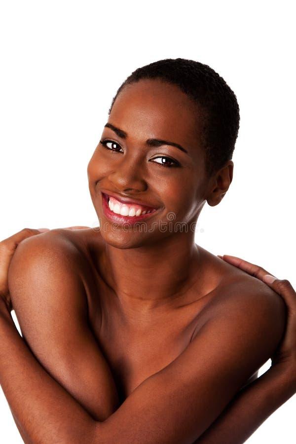 Donna sorridente felice di amore voi stessi - immagini stock libere da diritti
