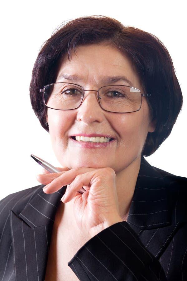 Donna sorridente matura di affari immagine stock libera da diritti