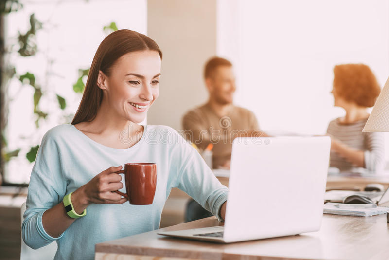Donna sorridente piacevole che per mezzo del computer portatile immagini stock