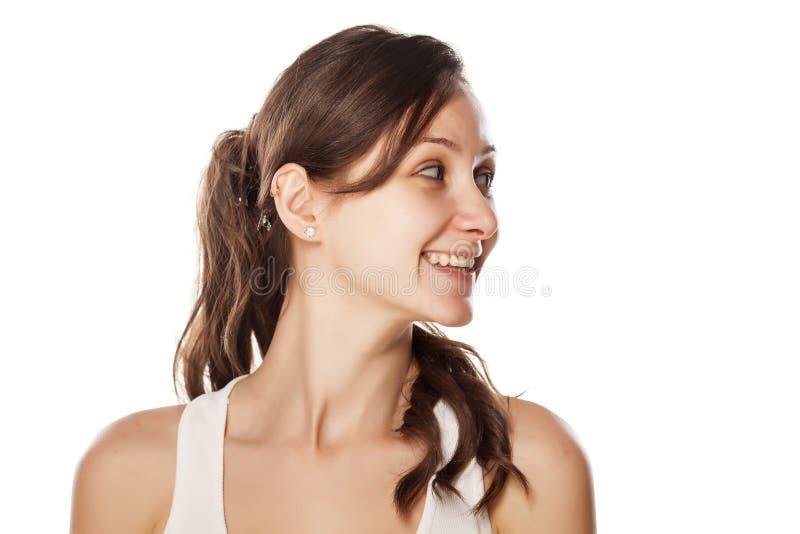 Donna sorridente senza trucco fotografie stock libere da diritti