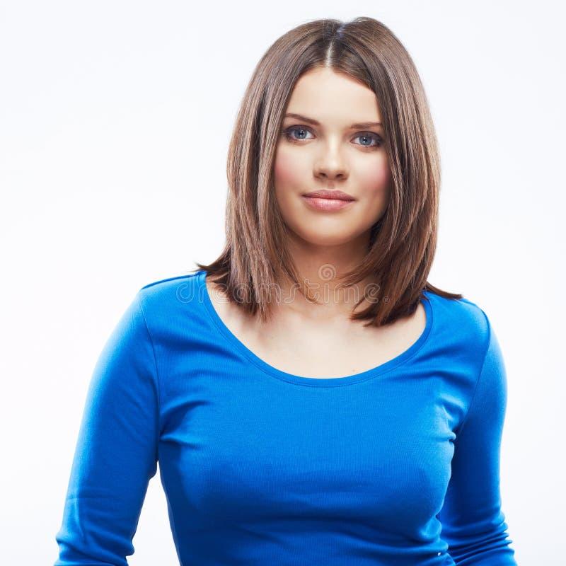Donna sorridente sul ritratto bianco del fondo fotografia stock