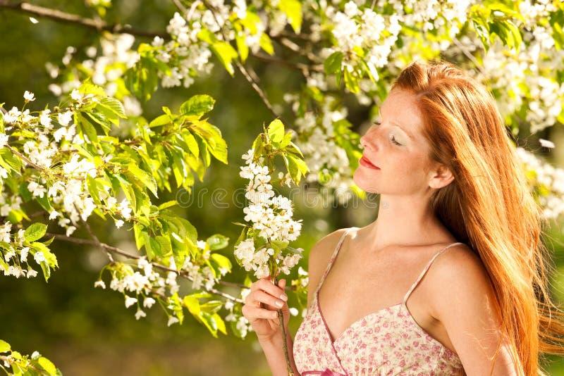 Donna sotto l'albero del fiore in primavera immagini stock