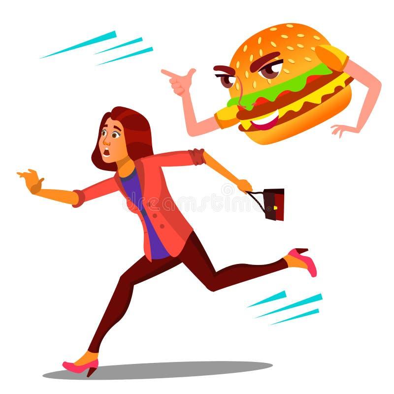 Donna spaventata che corre a partire dal vettore dell'hamburger Illustrazione isolata del fumetto illustrazione vettoriale