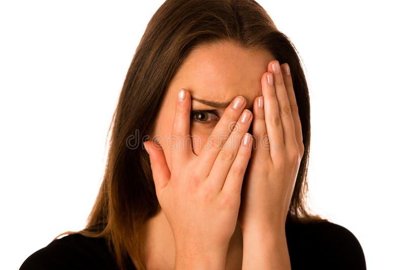 Donna spaventata - ragazza preety che gesturing timore immagine stock libera da diritti