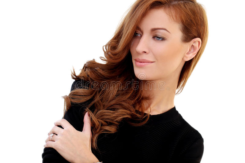 Donna splendida su un fondo bianco fotografie stock libere da diritti