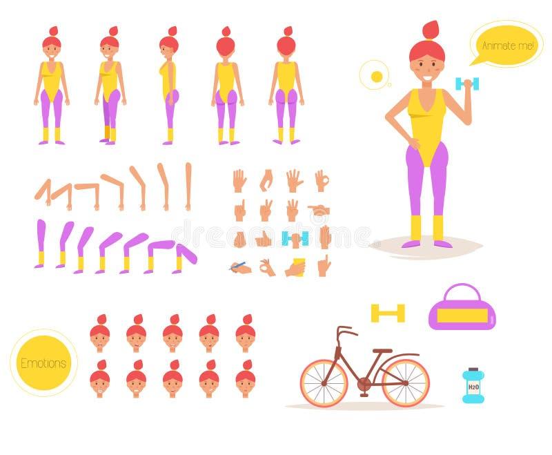 Donna sportiva per l'animazione illustrazione di stock