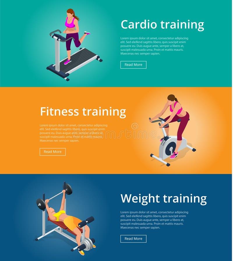 Donna stabilita che risolve sulla bici di esercizio, giovane donna di forma fisica dell'insegna con il bilanciere che flette i mu illustrazione vettoriale