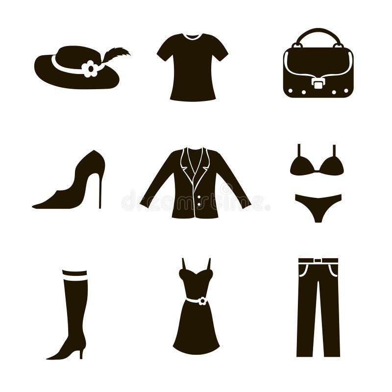 Donna stabilita dell'icona dei vestiti illustrazione di stock