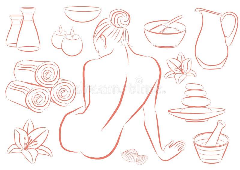 Donna in stazione termale illustrazione di stock
