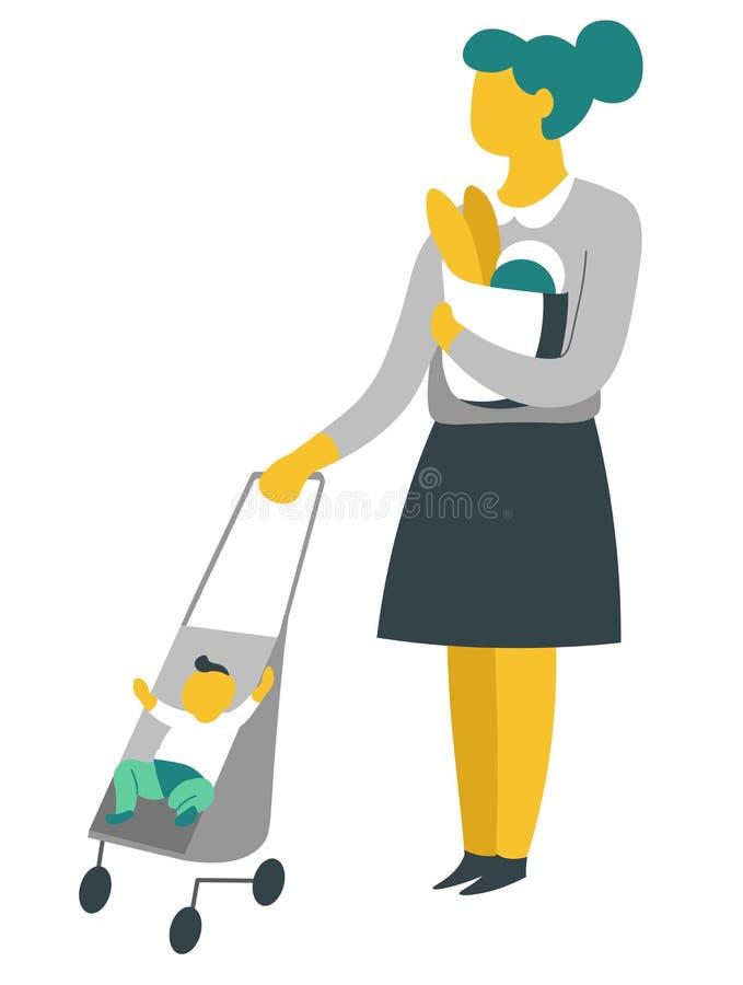 Donna su acquisto con il bambino in baguette della carrozzina nella madre e nel figlio del pacchetto illustrazione vettoriale