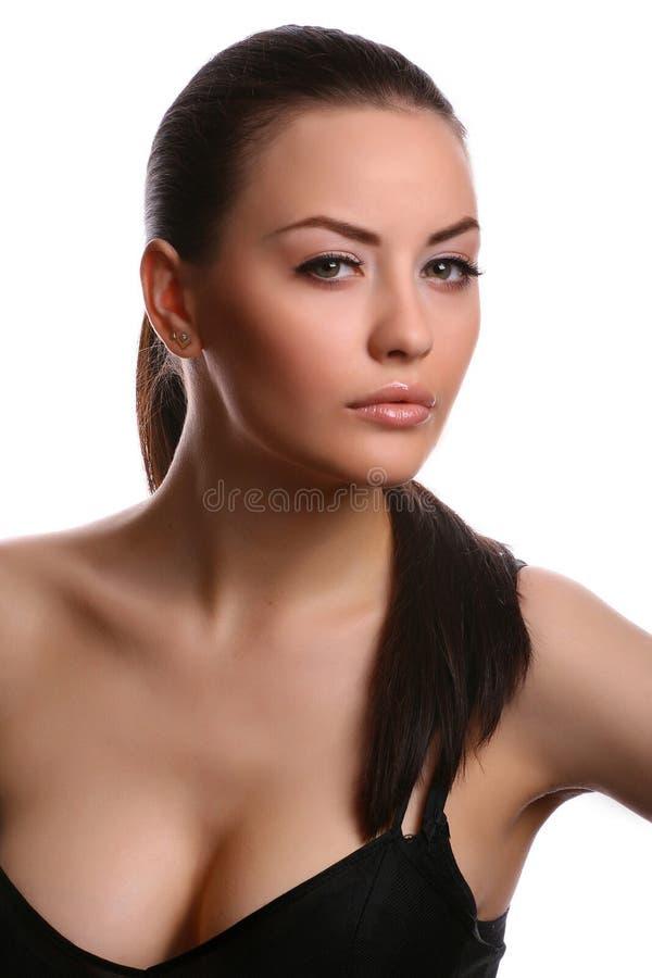 Donna su bianco fotografia stock
